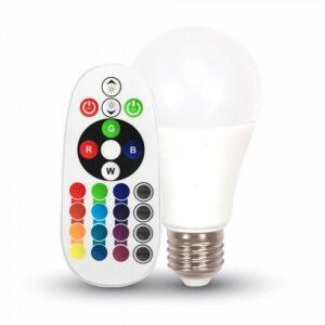 Светодиодная лампа RGB с пультом V-Tac 6 Вт, 470lm, А60, Е27, 3000К